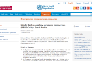 MERS-CoV WHO update 22 Oct 2015